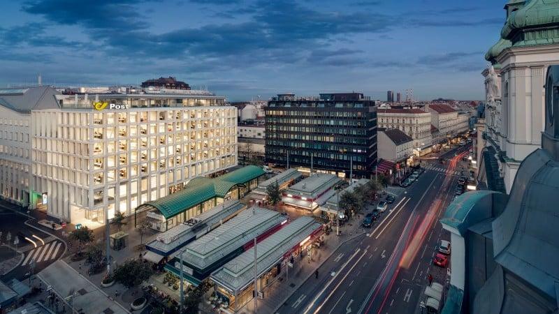 Post am Rochus: Blick von oben mit Wiener Innenstadt