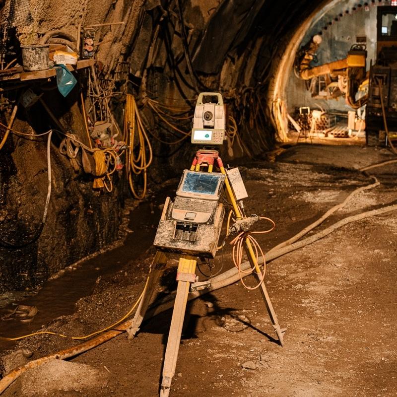 Vermessungsgerät im Tunnelbau